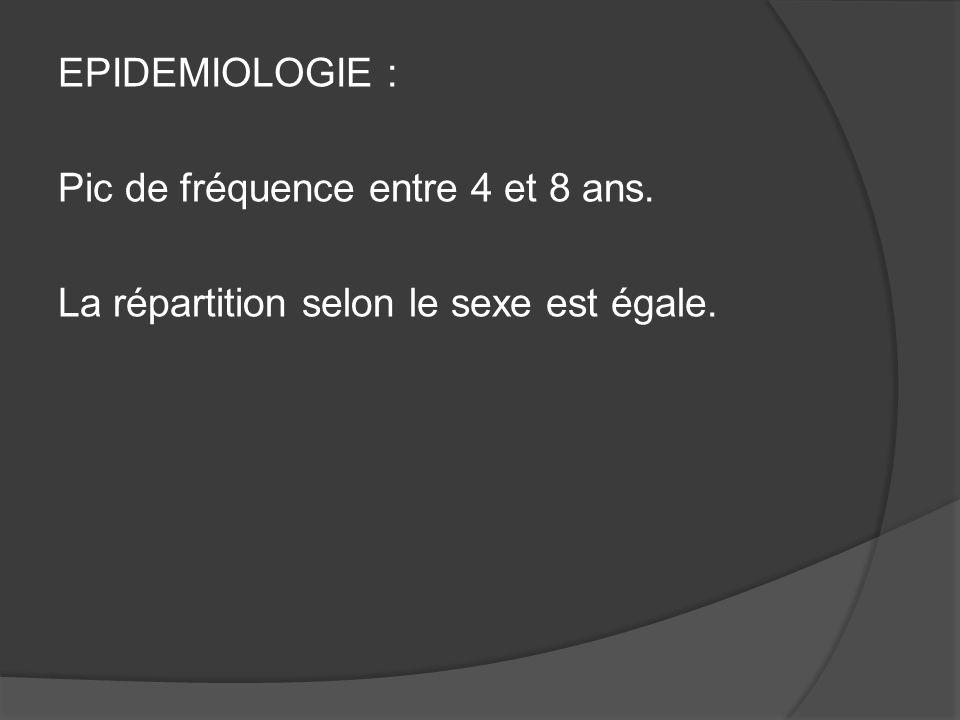 EPIDEMIOLOGIE : Pic de fréquence entre 4 et 8 ans