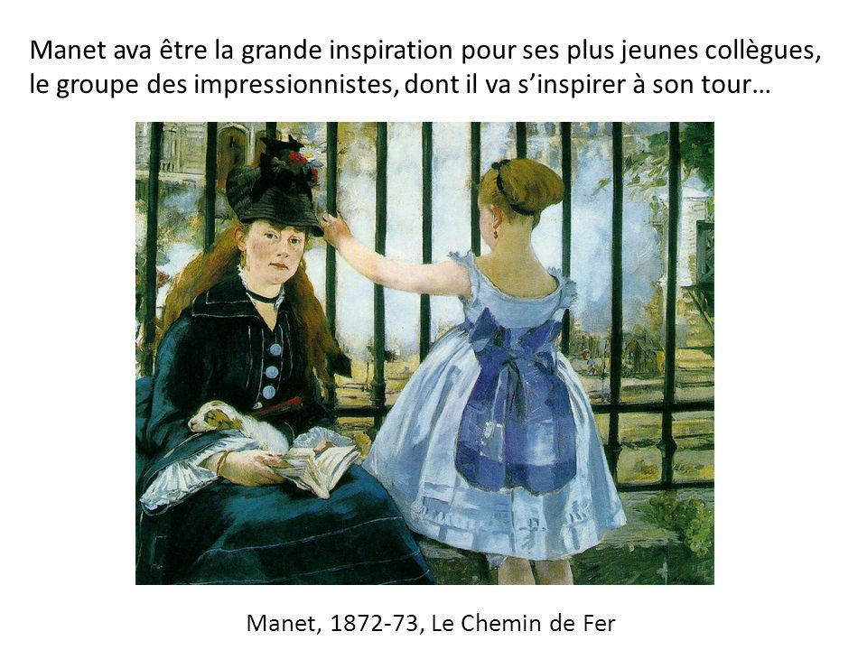 Manet ava être la grande inspiration pour ses plus jeunes collègues, le groupe des impressionnistes, dont il va s'inspirer à son tour…
