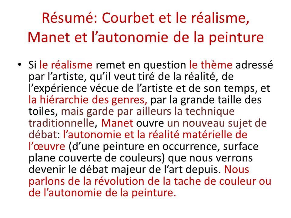 Résumé: Courbet et le réalisme, Manet et l'autonomie de la peinture