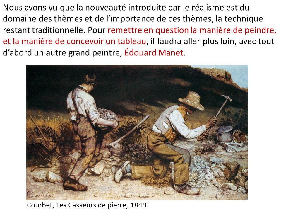 Nous avons vu que la nouveauté introduite par le réalisme est du domaine des thèmes et de l'importance de ces thèmes, la technique restant traditionnelle. Pour remettre en question la manière de peindre, et la manière de concevoir un tableau, il faudra aller plus loin, avec tout d'abord un autre grand peintre, Édouard Manet.