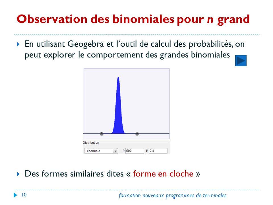 Observation des binomiales pour n grand