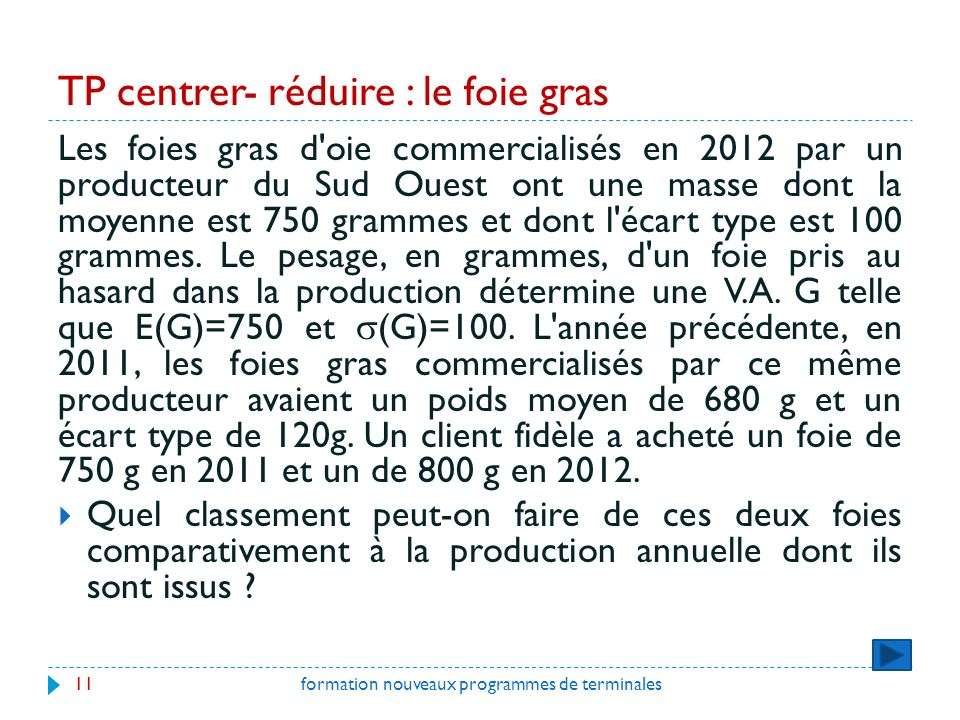TP centrer- réduire : le foie gras