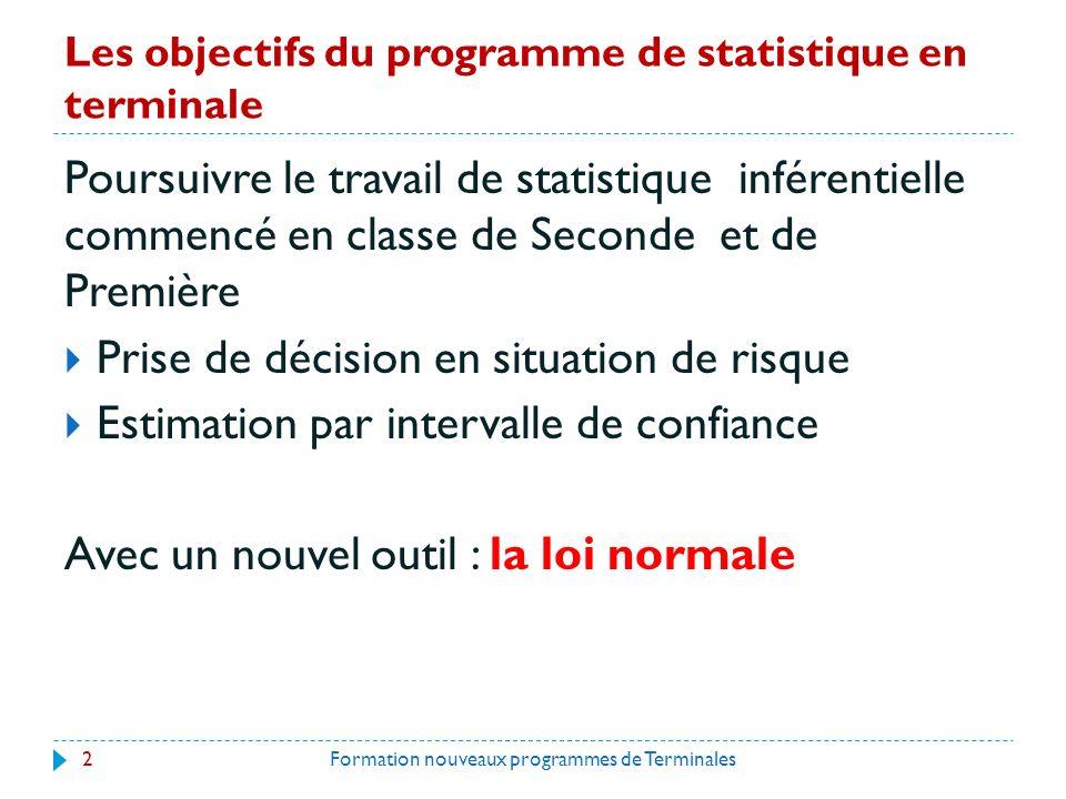 Les objectifs du programme de statistique en terminale