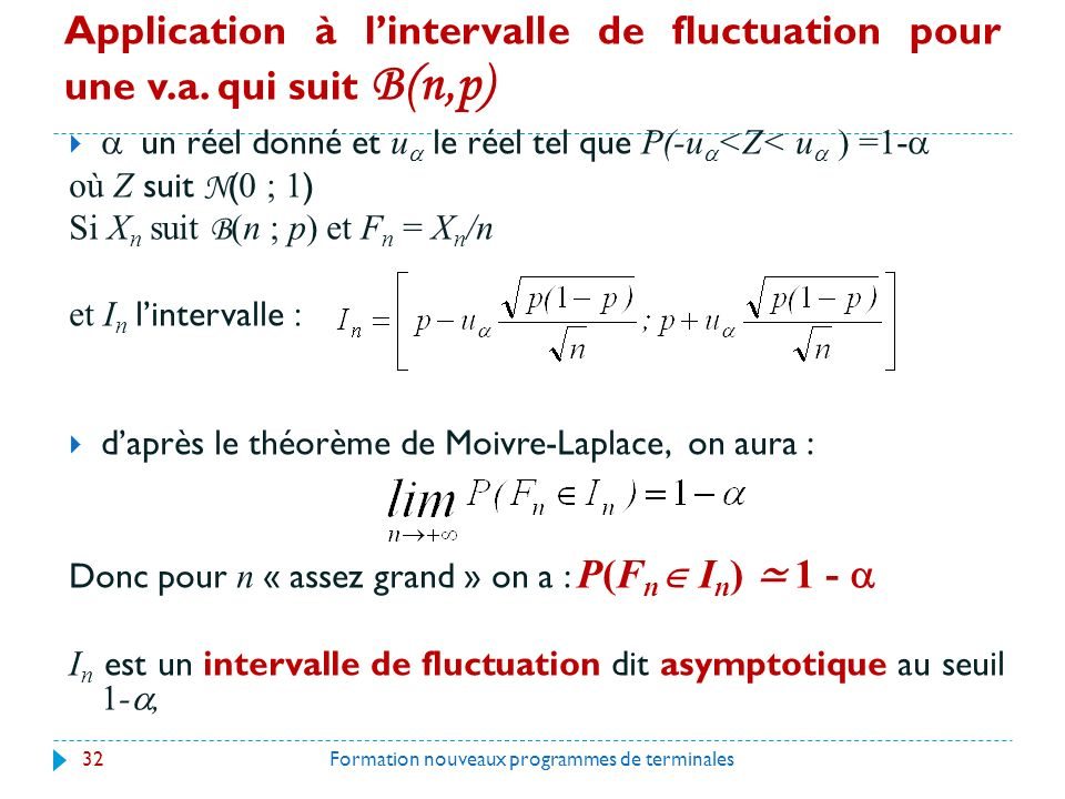 Application à l'intervalle de fluctuation pour une v. a