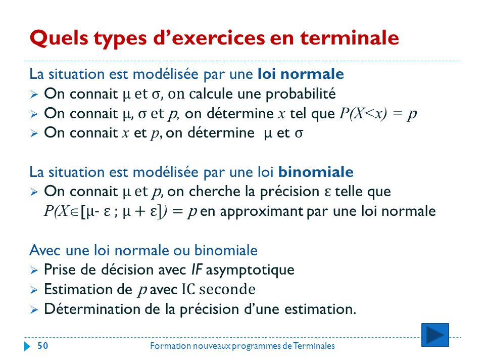 Quels types d'exercices en terminale