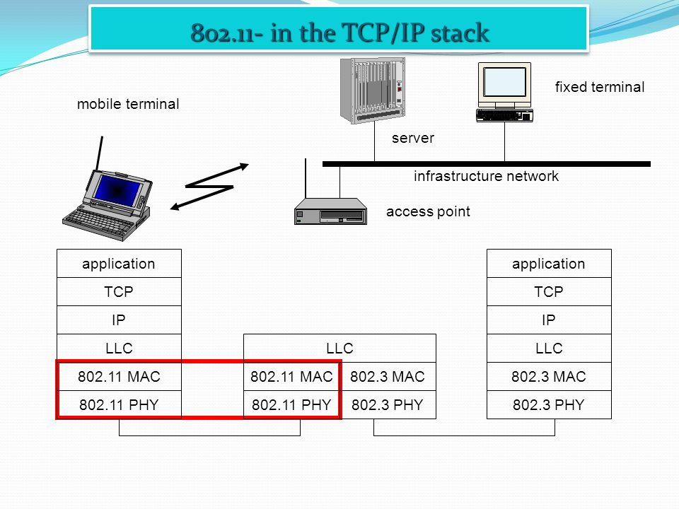 802.11- in the TCP/IP stack fixed terminal mobile terminal server