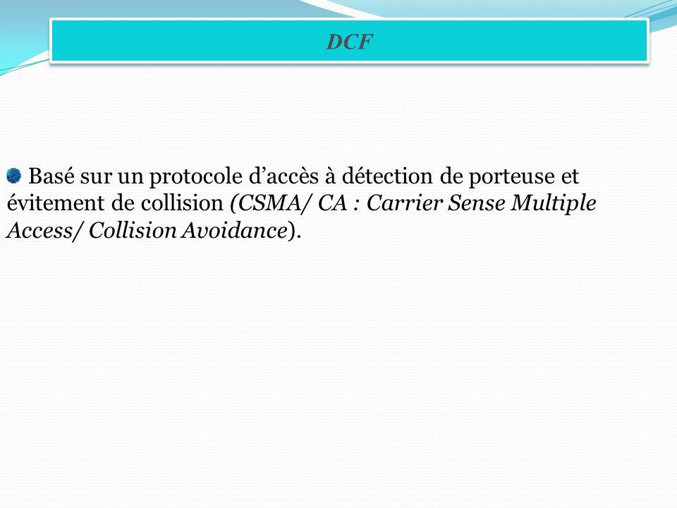 DCF Basé sur un protocole d'accès à détection de porteuse et évitement de collision (CSMA/ CA : Carrier Sense Multiple Access/ Collision Avoidance).