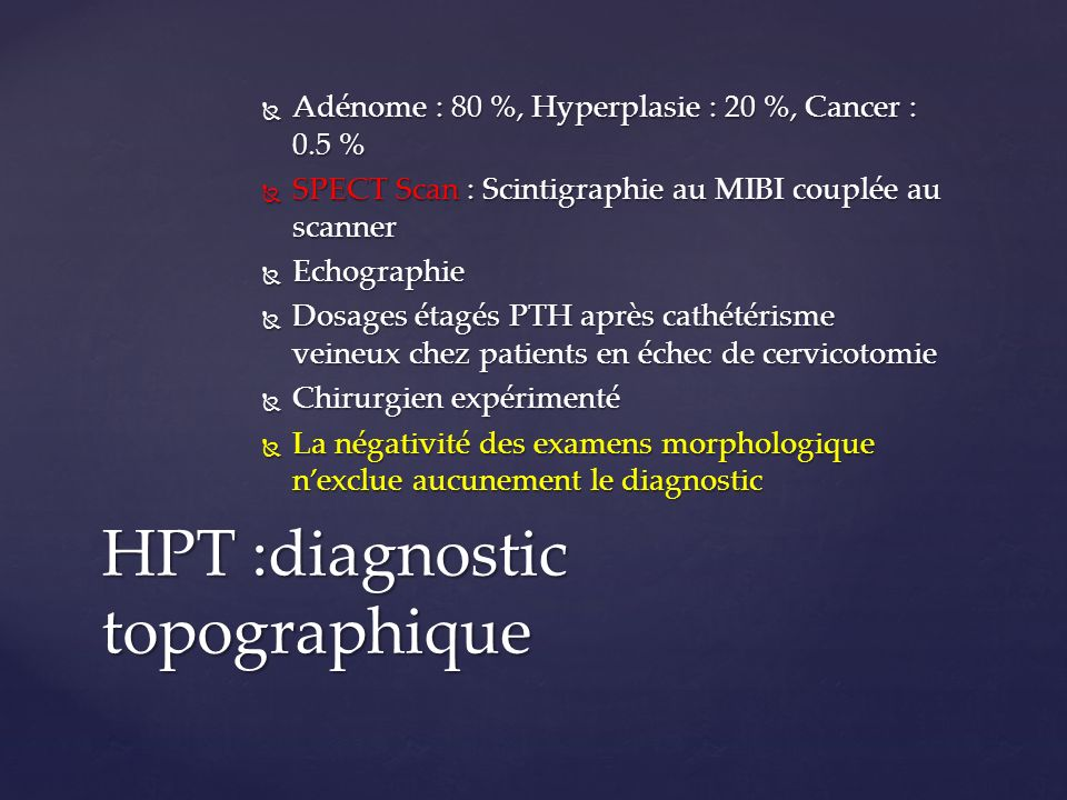 HPT :diagnostic topographique