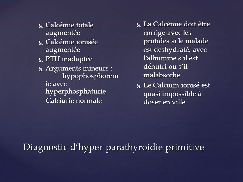 Diagnostic d'hyper parathyroidie primitive