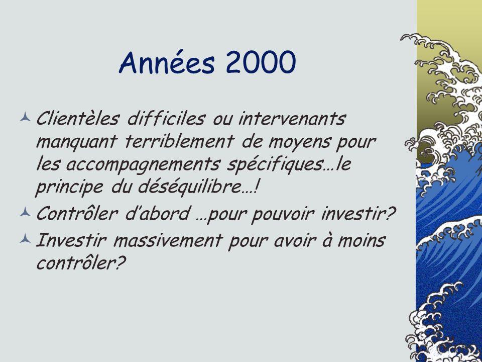 Années 2000 Clientèles difficiles ou intervenants manquant terriblement de moyens pour les accompagnements spécifiques…le principe du déséquilibre…!