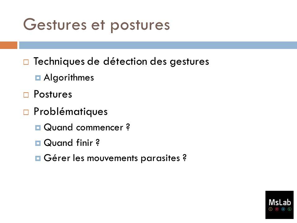 Gestures et postures Techniques de détection des gestures Postures