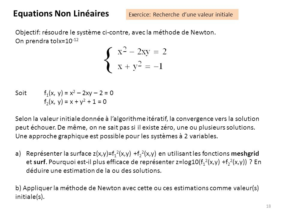 { Equations Non Linéaires