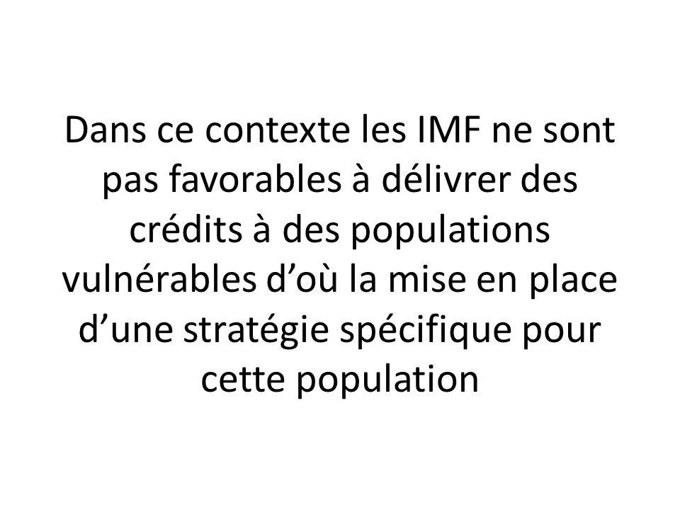 Dans ce contexte les IMF ne sont pas favorables à délivrer des crédits à des populations vulnérables d'où la mise en place d'une stratégie spécifique pour cette population