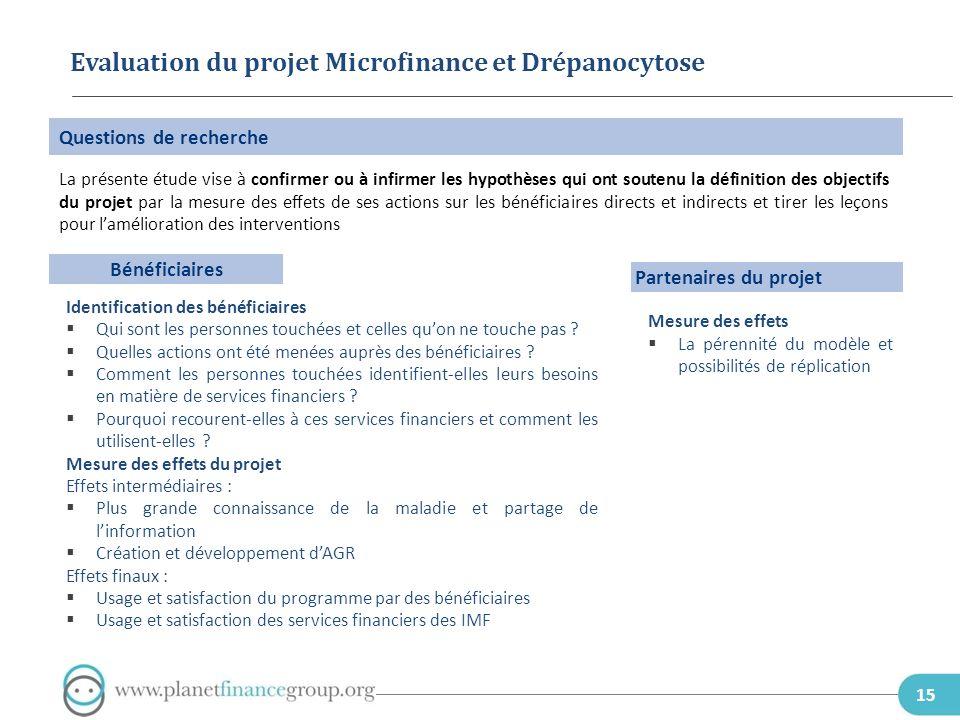Evaluation du projet Microfinance et Drépanocytose