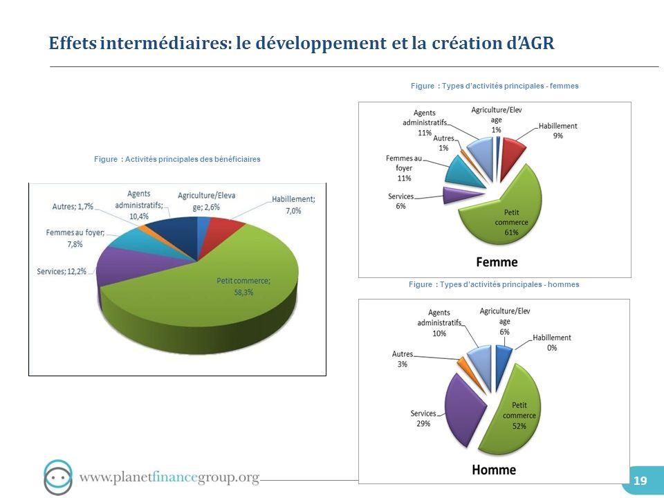 Effets intermédiaires: le développement et la création d'AGR