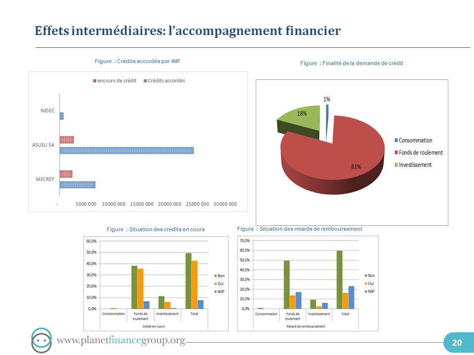 Effets intermédiaires: l'accompagnement financier