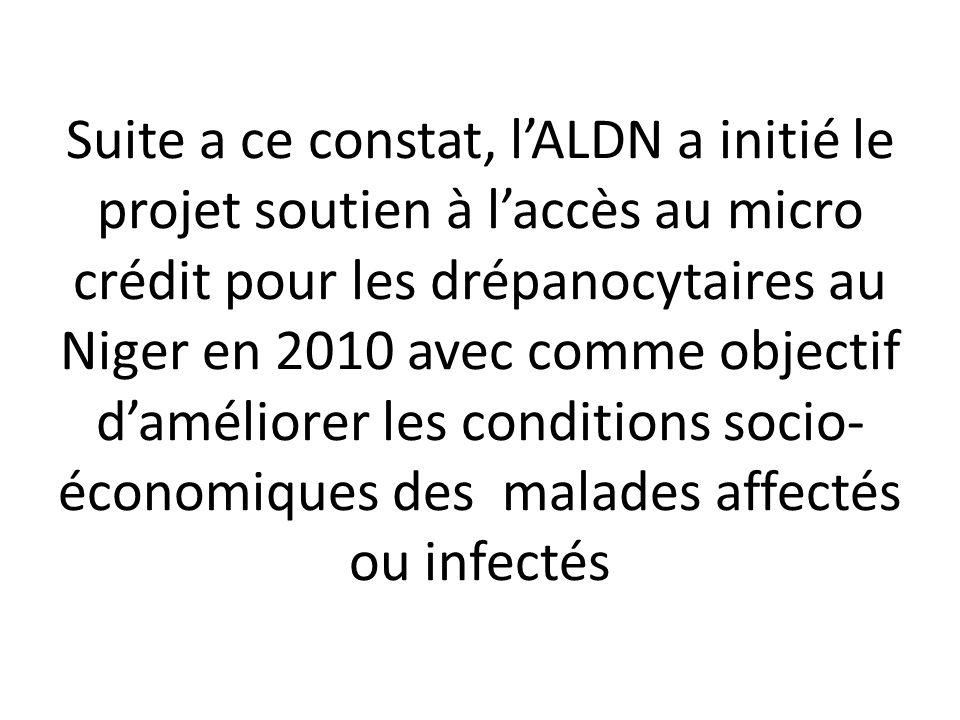 Suite a ce constat, l'ALDN a initié le projet soutien à l'accès au micro crédit pour les drépanocytaires au Niger en 2010 avec comme objectif d'améliorer les conditions socio-économiques des malades affectés ou infectés