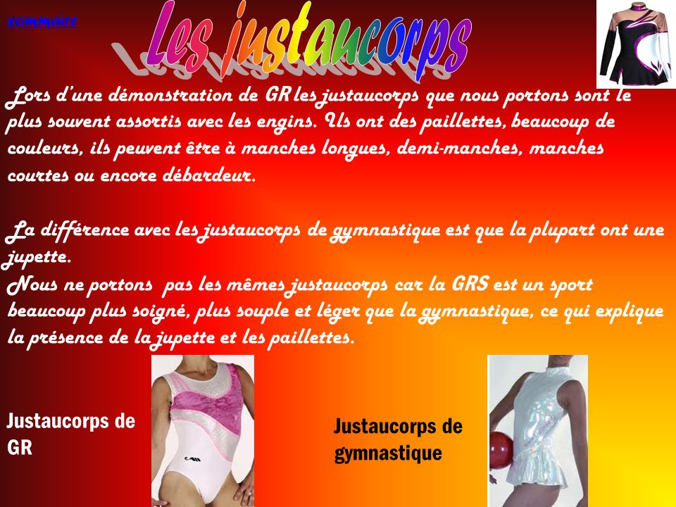 Les justaucorps sommaire.