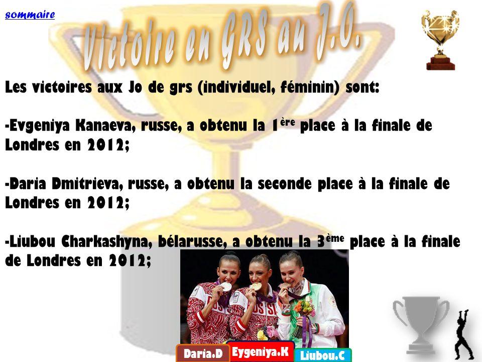 sommaire Victoire en GRS au J.O. Les victoires aux Jo de grs (individuel, féminin) sont: