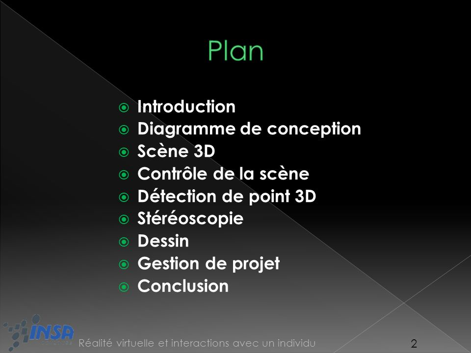 Plan Introduction Diagramme de conception Scène 3D