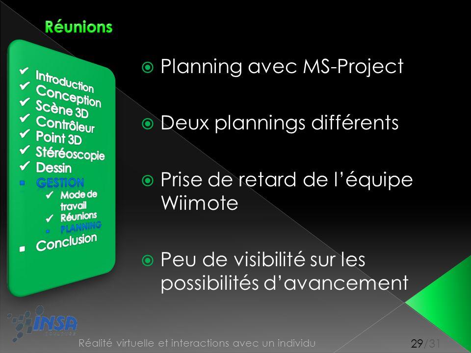 Planning avec MS-Project Deux plannings différents