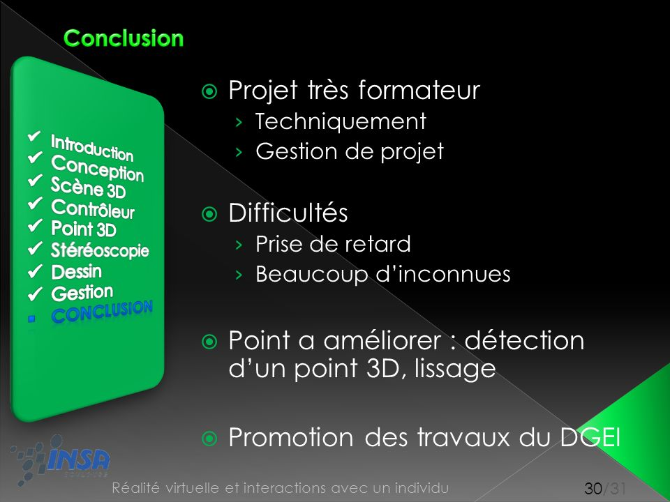 Point a améliorer : détection d'un point 3D, lissage