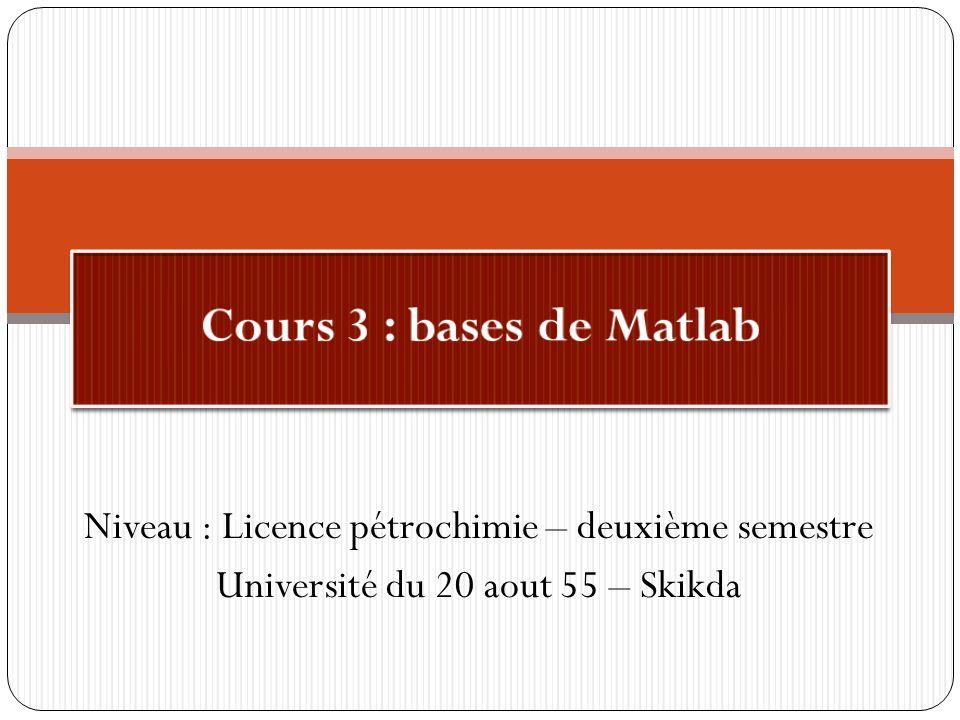 Cours 3 : bases de Matlab Niveau : Licence pétrochimie – deuxième semestre.