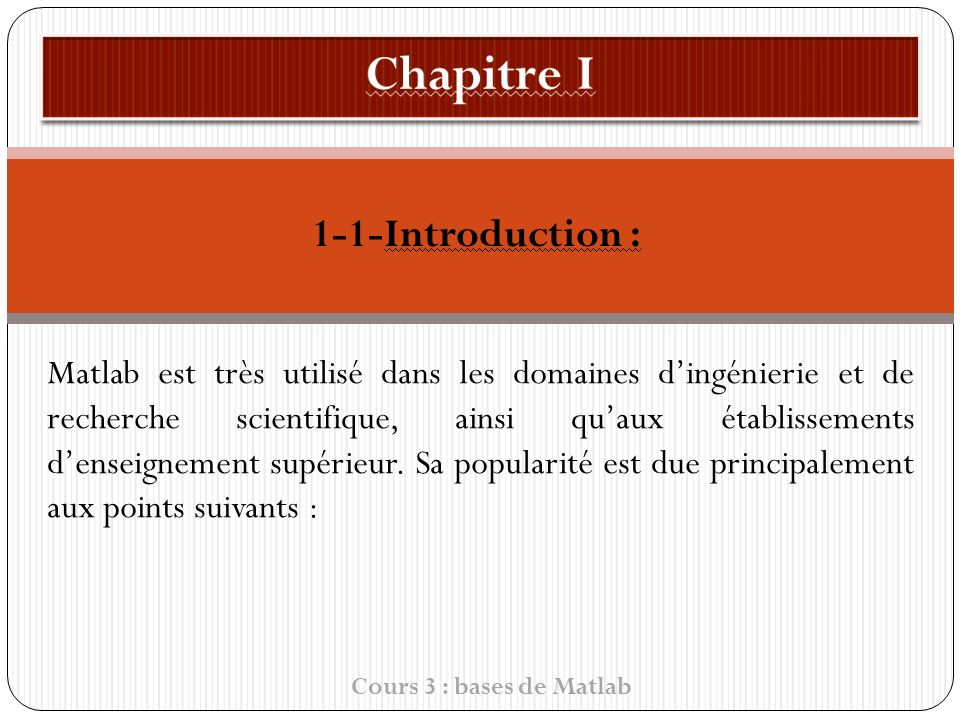 Chapitre I 1-1-Introduction :
