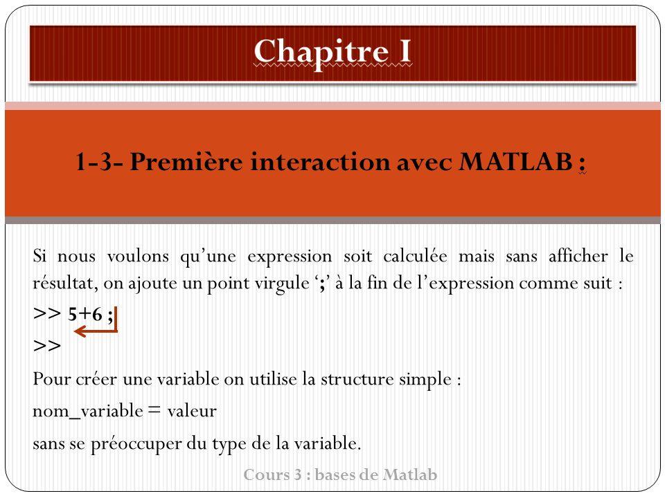 1-3- Première interaction avec MATLAB :