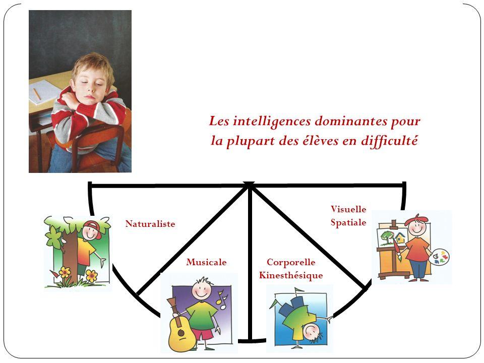 Les intelligences dominantes pour la plupart des élèves en difficulté