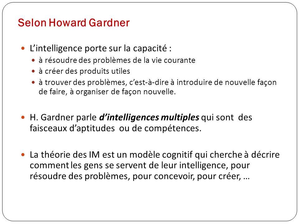 Selon Howard Gardner L'intelligence porte sur la capacité :