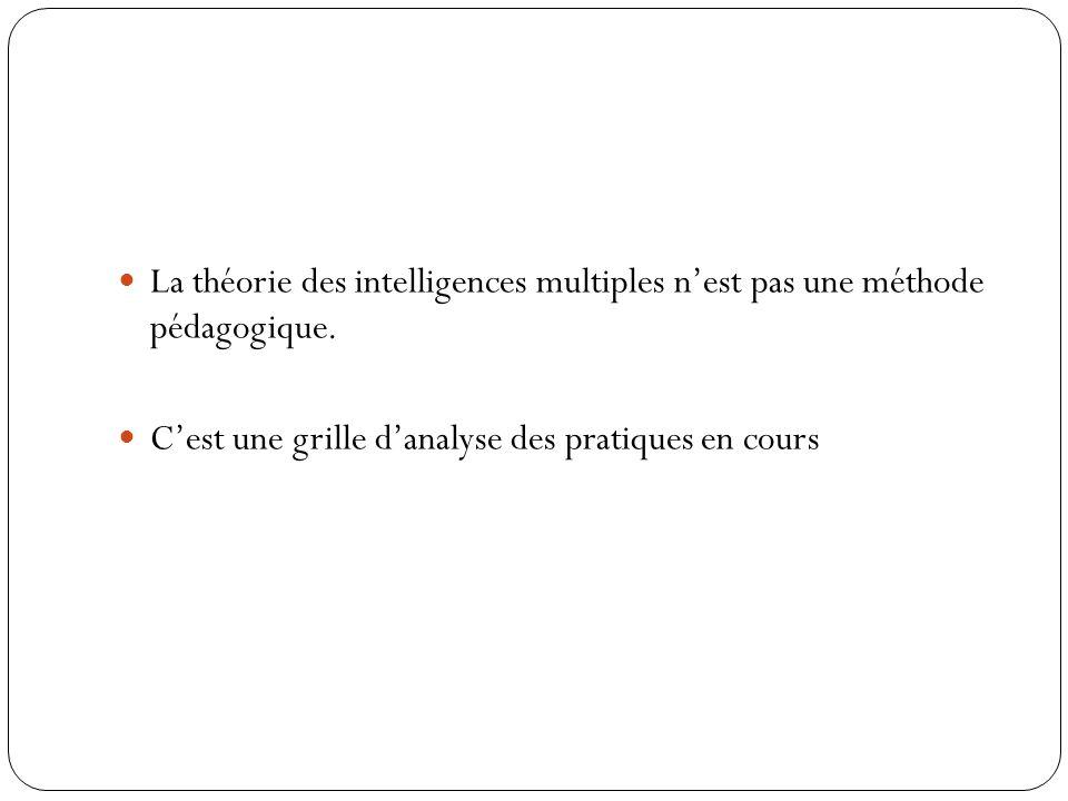 La théorie des intelligences multiples n'est pas une méthode pédagogique.