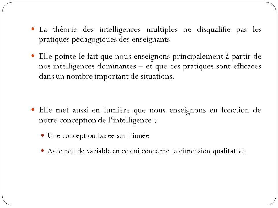 La théorie des intelligences multiples ne disqualifie pas les pratiques pédagogiques des enseignants.