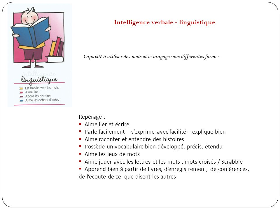 Intelligence verbale - linguistique