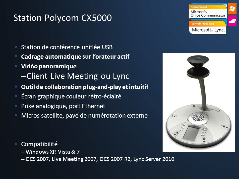 Station Polycom CX5000 Client Live Meeting ou Lync