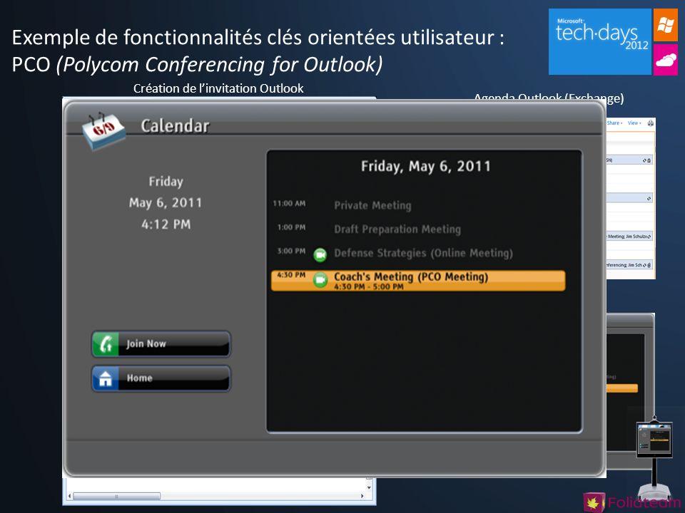 Exemple de fonctionnalités clés orientées utilisateur : PCO (Polycom Conferencing for Outlook)