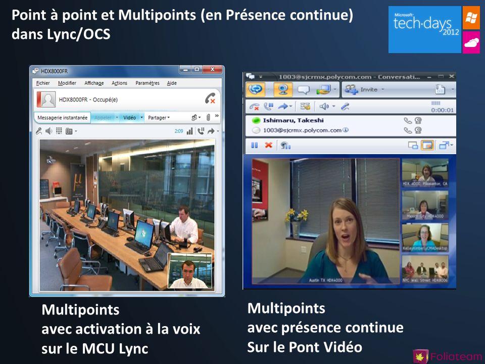 Point à point et Multipoints (en Présence continue) dans Lync/OCS