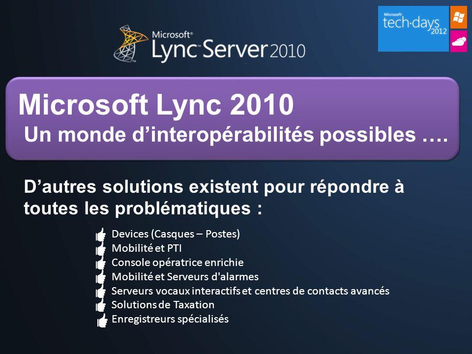 Microsoft Lync 2010 Un monde d'interopérabilités possibles …