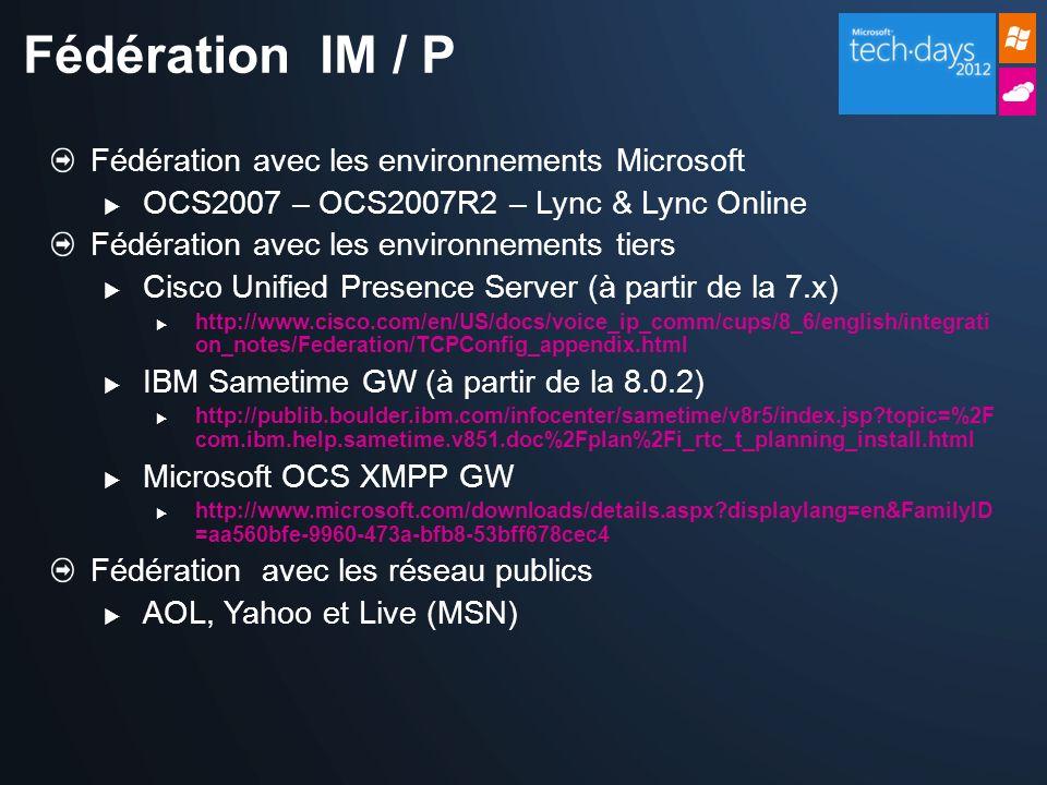 Fédération IM / P Fédération avec les environnements Microsoft