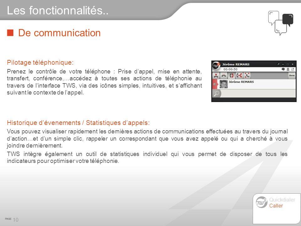 Les fonctionnalités.. De communication Pilotage téléphonique: