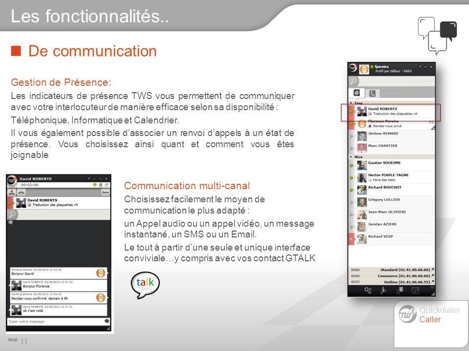 Les fonctionnalités.. De communication Gestion de Présence: