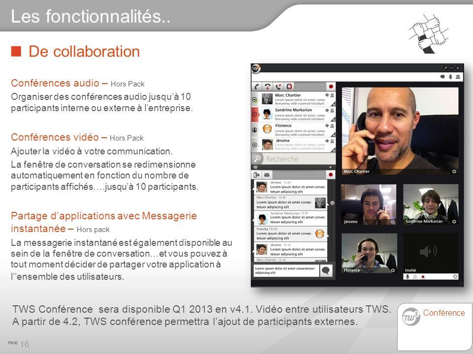Les fonctionnalités.. De collaboration Conférences audio – Hors Pack