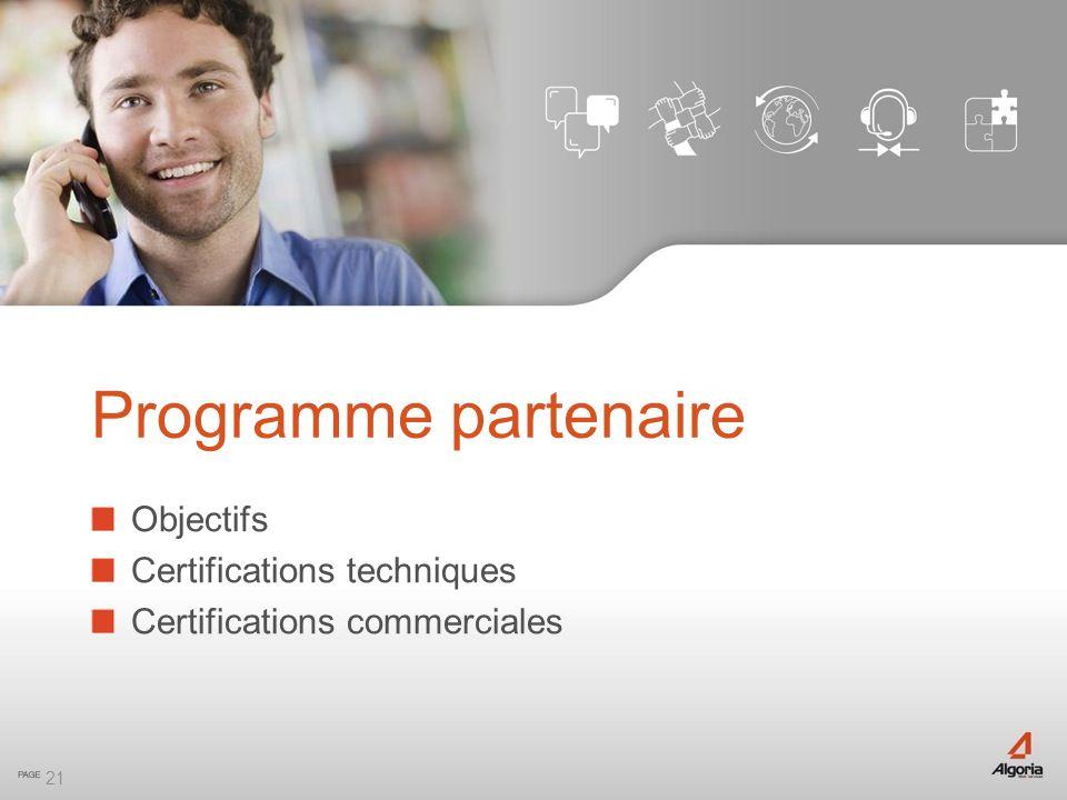 Programme partenaire Objectifs Certifications techniques