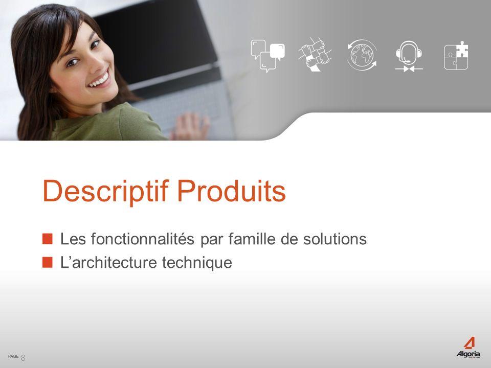 Descriptif Produits Les fonctionnalités par famille de solutions