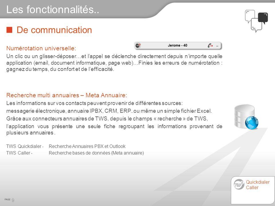 Les fonctionnalités.. De communication Numérotation universelle: