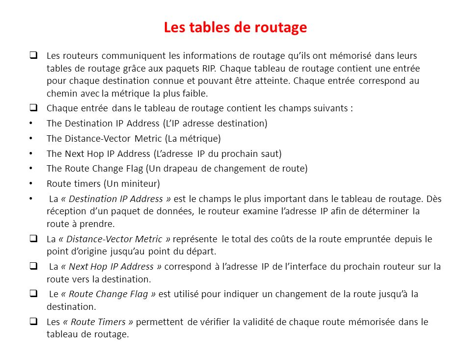Les tables de routage