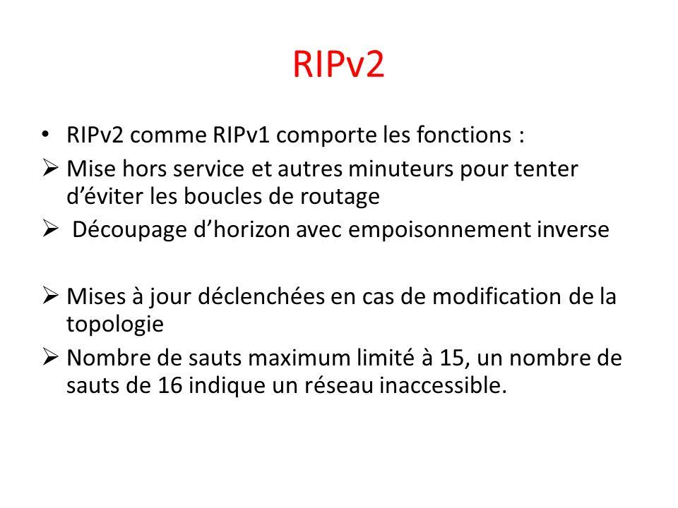RIPv2 RIPv2 comme RIPv1 comporte les fonctions :