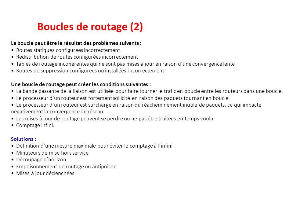 Boucles de routage (2) La boucle peut être le résultat des problèmes suivants : Routes statiques configurées incorrectement.