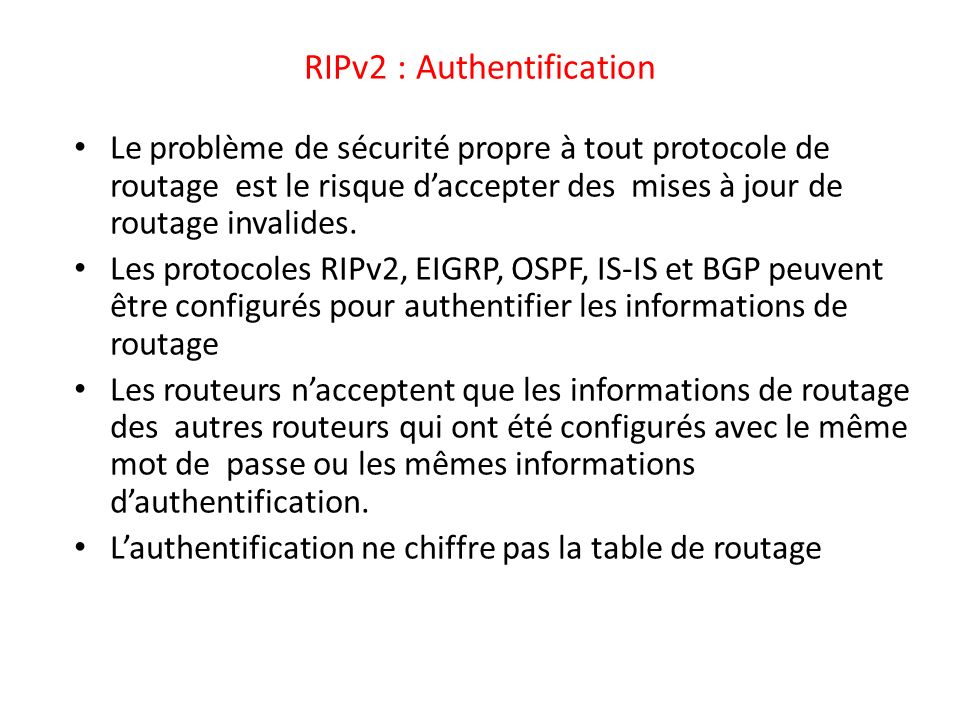 RIPv2 : Authentification