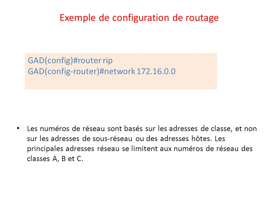 Exemple de configuration de routage
